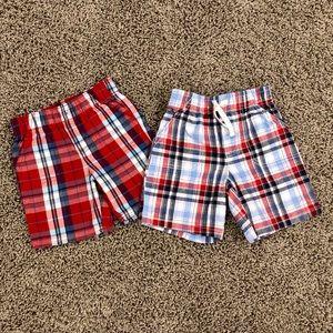 5/$25 Bundle of boys red white & blue plaid shorts